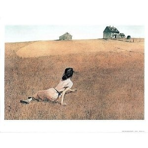 Andrew Wyeth- this is a scene that Andrew saw from his home:  the neighbor girl who had polio crawing in the field.