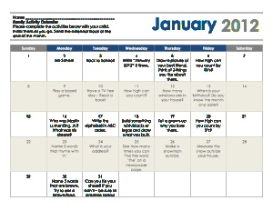 Homework calendar ideas