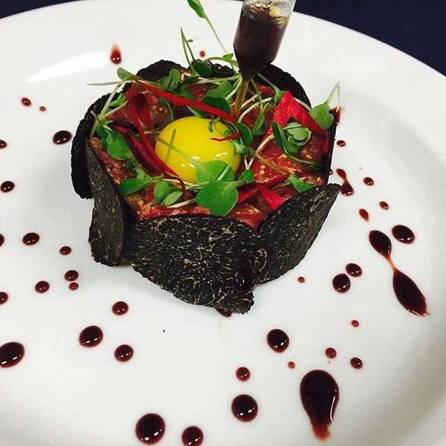 Jackman Ranch Wagyu Beef Tartare, Quail Yolk, Perigord Truffle, Minus 8 Vinegar by @chefboyjv #rollwithus #chefsroll