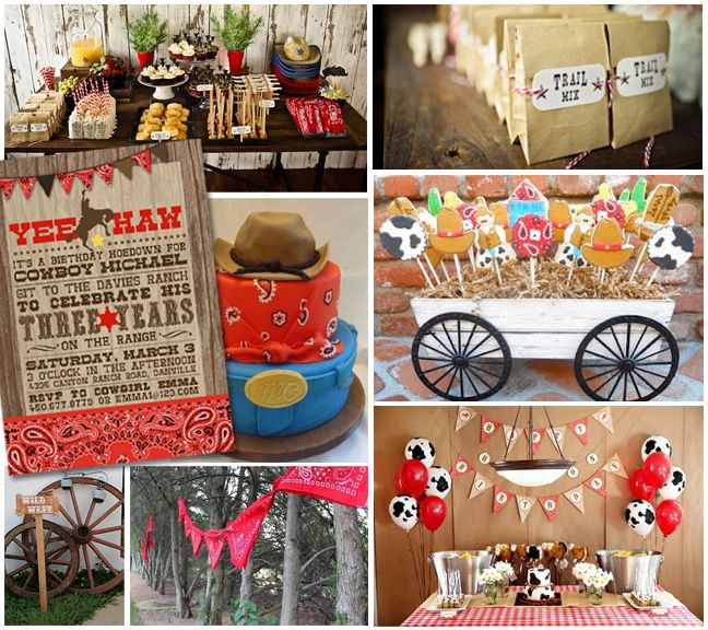 Photo Credits clockwise from upper left: Cowboy party dessert table and Trail Mix Bags Kelly Addison Photography; Cowboy Cookies Oh Sugar! Events; Cowboy Birthday Table and Bandana Pendants Petit a Petit and Family; Wagon Wheels Dulce Design; Yee Haw Cowboy Party Invitation Party Monkey; Cowboy birthday cake Squidoo