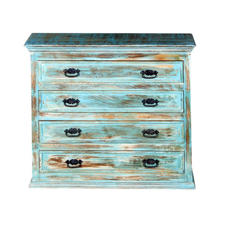 Washed 4 Drawer Chest 90h x 100w x52