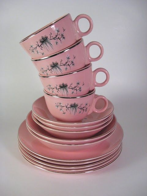 "Vintage pink dishes with pinecone design. This is the ""Dwarf Pine"" pattern from Taylor Smith, circa 1956."