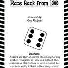 """Freebie! A primary math game to reinforce subtraction or """"counting back"""" skills. Students start at 100 (or choose any starting number). They will roll a dice and subtract that number from 100. Continue on until a student has reached exactly 0. Great subtraction practice!"""