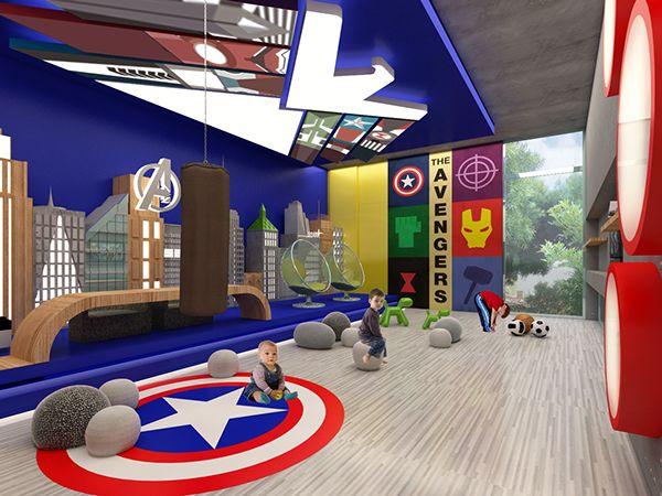 diseo de interiores de un cuarto de juegos para nios inspirado en los avengers en