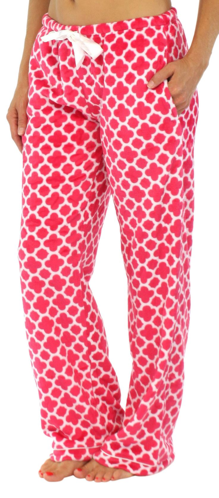 PajamaMania fleece pajama pants are made of plush fleece that will keep you warm all winter long - Fleece - Elastic waistband - Satin drawstring - Side pockets - Satin trim - Machine wash - Model is 5