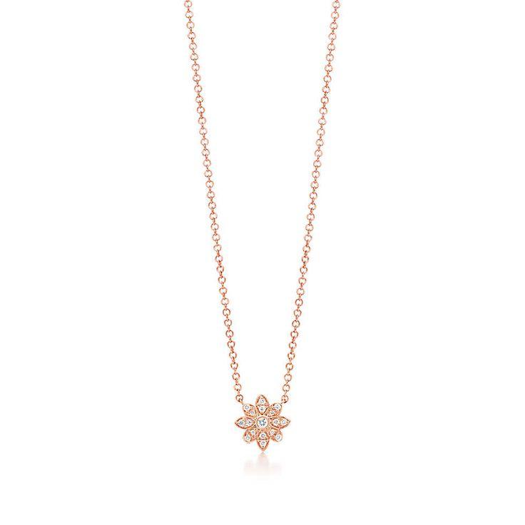 Tiffany & Co. -  Tiffany Enchant® flower pendant in 18k rose gold with diamonds.