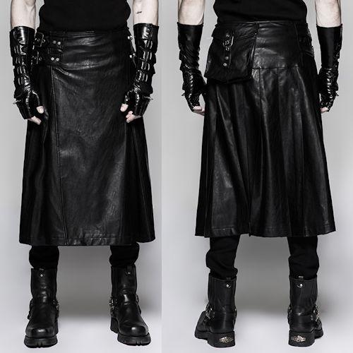 Black PU Leather Pleated Maxi Long Steam Punk Kilt Clothing Men SKU-11406411