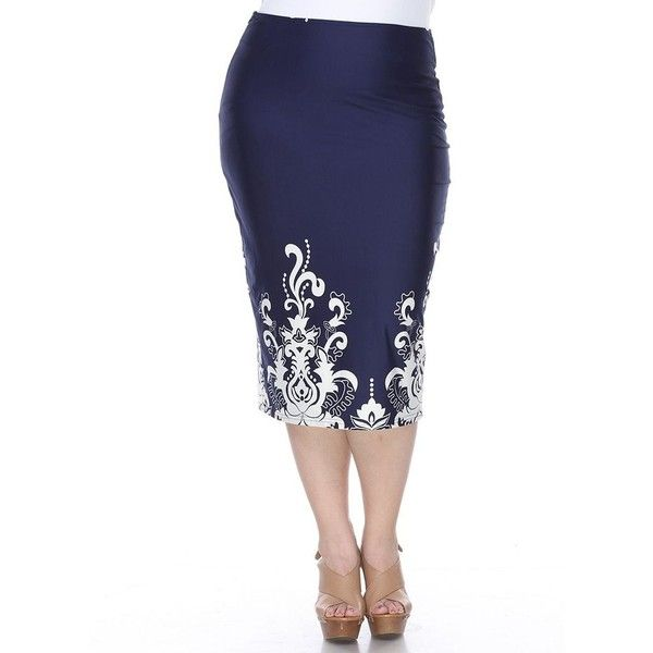 Plus Size White Mark Print Pencil Skirt ($56) ❤ liked on Polyvore featuring plus size women's fashion, plus size clothing, plus size skirts, blue, plus size, white skirt, plus size white skirt, patterned pencil skirt and plus size blue skirt