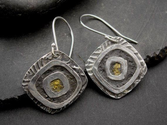 Silver with Grey and Yellow Concrete Earrings  by designsbysuzyn, $68.00