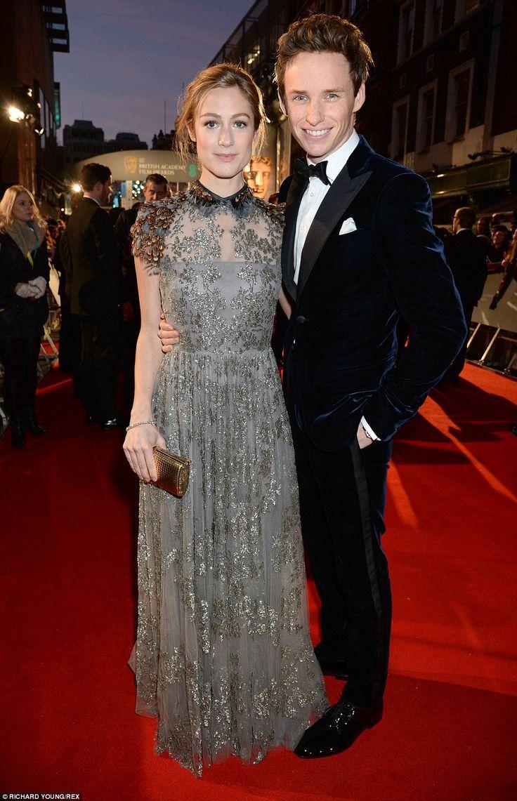 Big night: Eddie Redmayne arrived with his new wife Hannah Bagshawe who glittered in grey