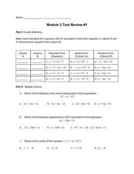 Graphing quadratic functions module quiz b answers