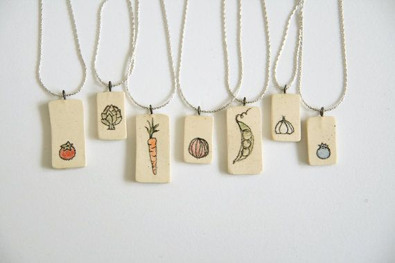 Farmers Market Illustrated Ceramic Necklace by VumbacaWhiteJewelry, $28.00