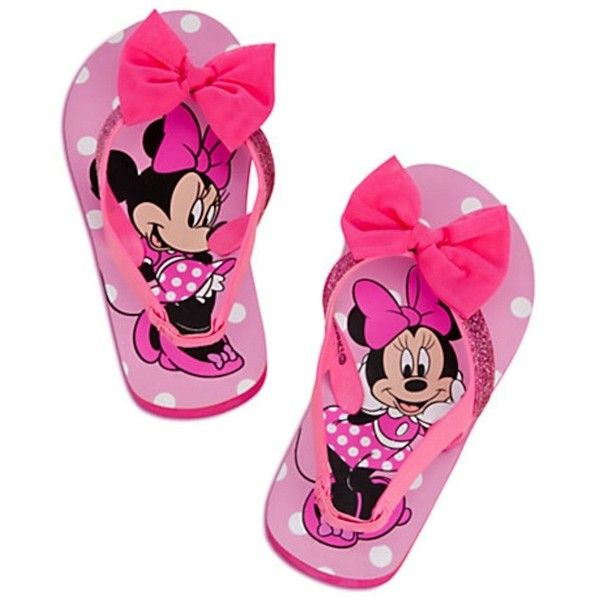 Disney Minnie Mouse Sz 9 10 Toddler Flip Flops Sandals Shoes Pink Bow... ($19) ❤ liked on Polyvore featuring kid shoes