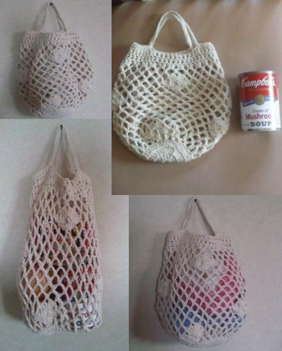 かぎ針編みで作ったネット編みのバッグ