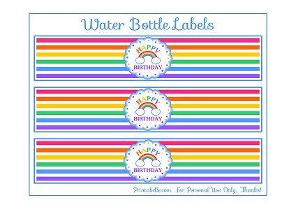 free rainbow party printables. rainbowwaterbottle