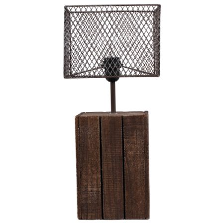 Bordlampe Wood med metallskjerm E27