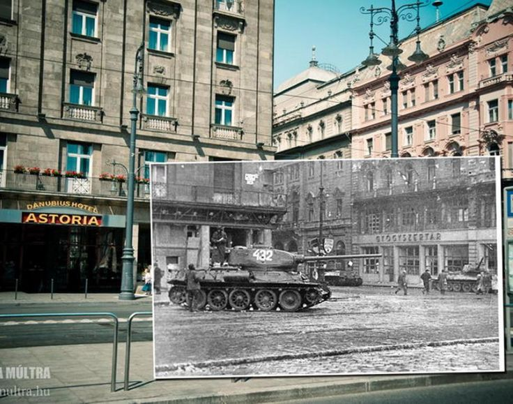 Many of the juxtaposed images are so similar, they look like they are part of one photograph when merged together. Here, a tank in 1956 drives down a Budapest street which was later captured by Zoltan in 2013.