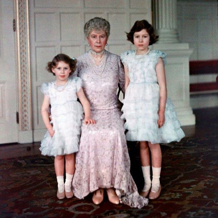Queen Mary and her Grandchildren Princess Margaret & Elizabeth