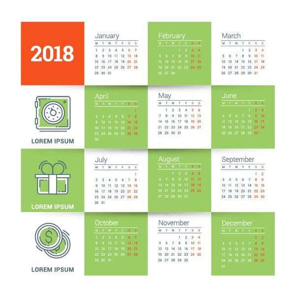 free ai file tender green 2018 calendar template vector download name tender green 2018 calendar template vector files source go to website license