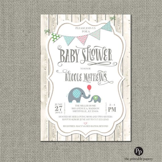 Shabby Chic Printable Baby Shower Invitation | Rustic Fence Elephant Bunting Design | Gender Neutral Card | Customize | DIY- No. BAC1-1
