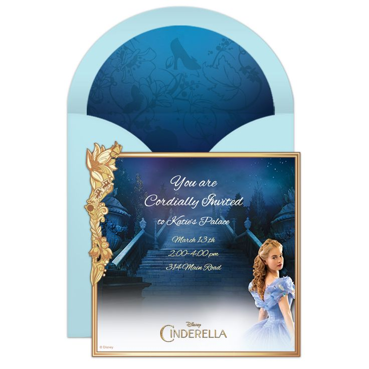 Cordially invite your family and friends to a magically unforgettable party with this free Cinderella online party invitation.