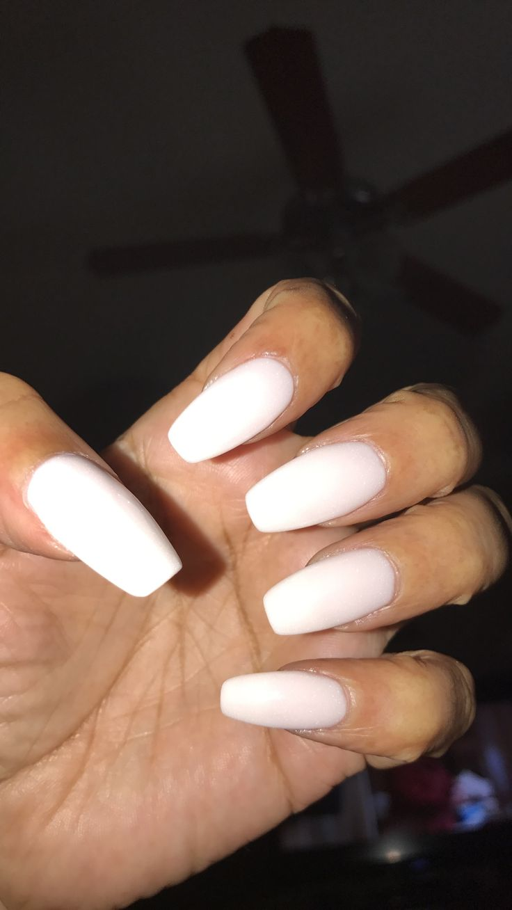 White Dip Powder Coffin Nails With Rounded Edges Nailologyla Nails Powder Nails Dip