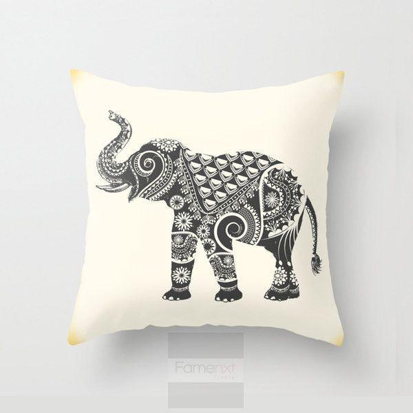 Elephant Throw Pillow. Decorative Mandala Pillow by FamenxtFiesta ($35) via Polyvore