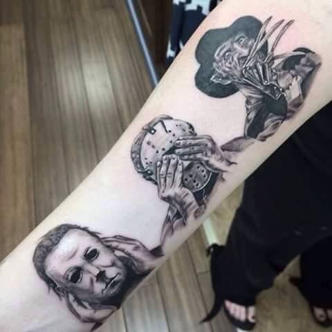 I would never get this tattoo myself but it is so cool! Love the original slasher characters