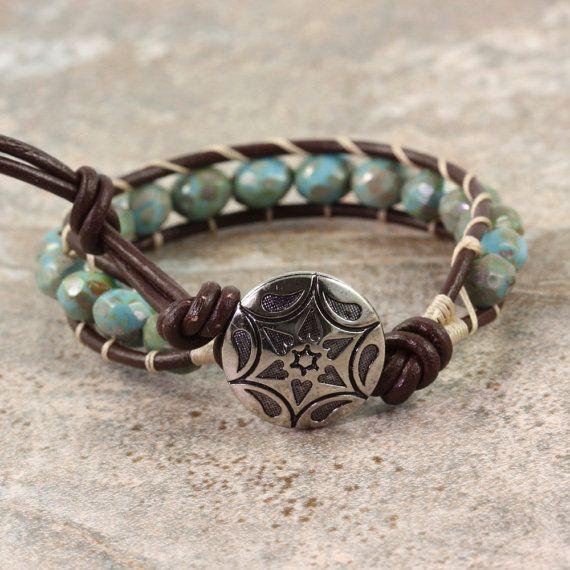 Westerse armband Boheemse sieraden blauwe door AbacusBeadCreations