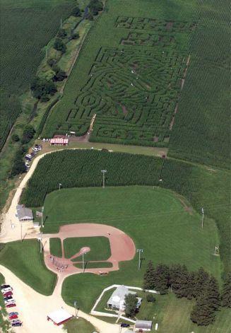 """""""Field of Dreams"""" baseball field in an Iowa cornfield."""