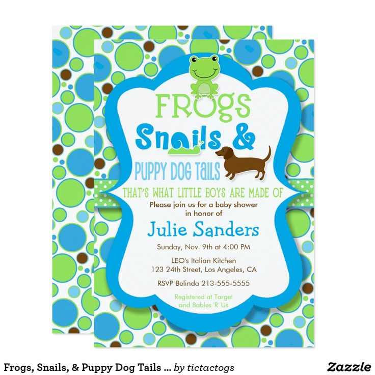 Frogs, Snails, & Puppy Dog Tails - Boy Baby Shower Card