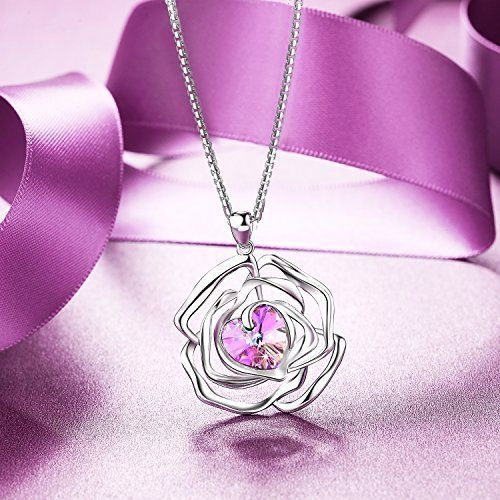 Valentines Day Gift Necklace Pendant for Women Girls Anniversary Love Heart Rose #ValentinesDayGiftNecklacePendant #Pendant