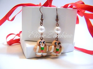 Handmade earrings with fimo Gingerbread and glass beads by www.elisaezucchina.it