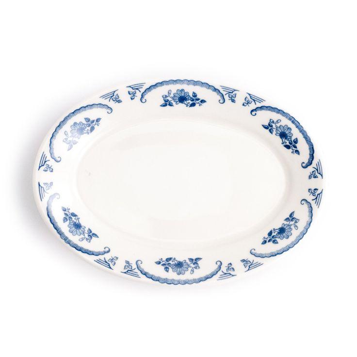 Small American Rose Blue Platter
