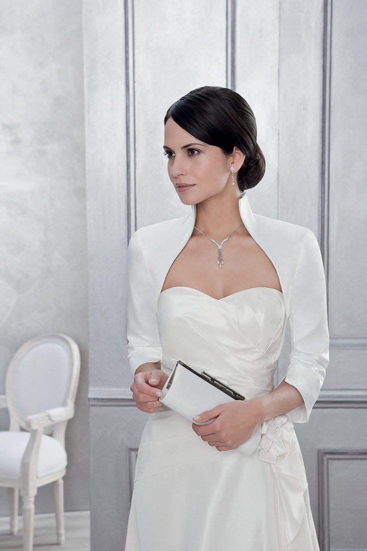 Bolero Hochzeit ivory Süße Bolerojacke mit kleinem Stehkragen von ...