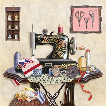 'Antique Sewing Room - Cream' by Rosiland Solomon