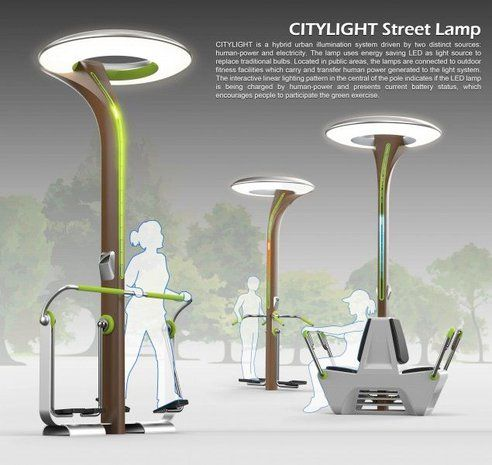 {Down the line..} CITYLIGHT is a hybrid urban illumination system driven by human-power and electricity. Located in public areas, the lamps are connected to outdoor fitness facilities which carry and transfer human power generated to the light system.