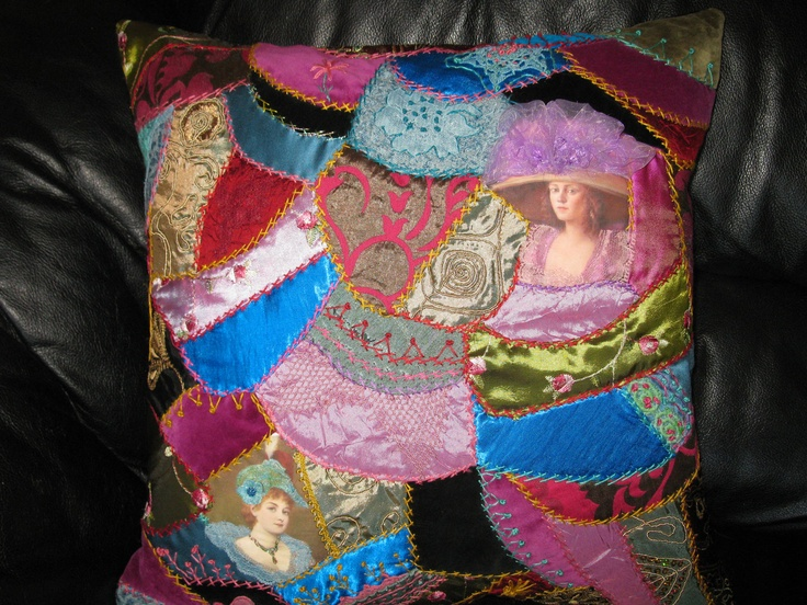 Embroidered Crazy quilt pillow cover  18x18 inches. Victorian women . multicoloured pillow. $85.00, via Etsy.