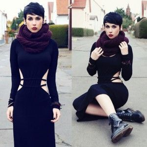 vestido largo botas