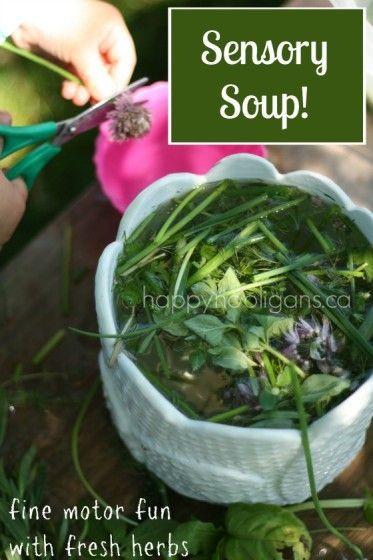 Sensory Soup - exploring herbs through fine motor, sensory fun and water play (happy hooligans)