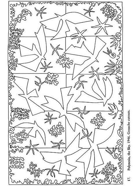 Color Your Own Matisse Paintings - Plynesia - the sky - 1946 - Gouache cutouts - coloring page
