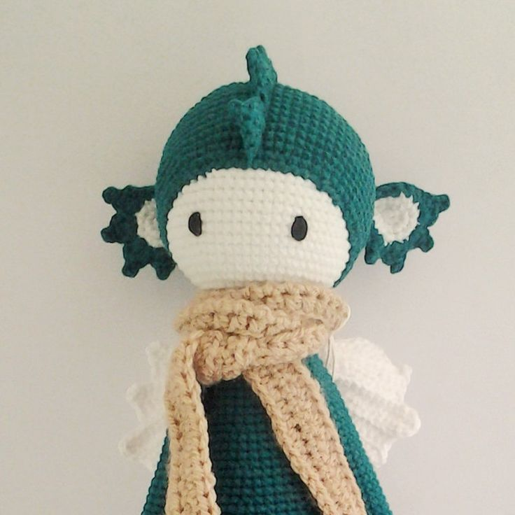 Lalylala Green Dirk the Dragon Handmade Crochet Doll by ElaMakrelaCrochet on Etsy