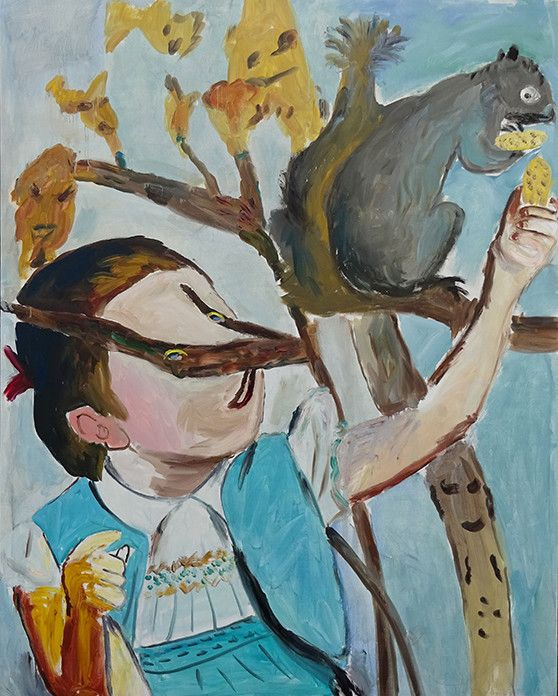 """Jacques Flechemuller, """"Squirrel"""", oil on canvas, 78 x 62 inches, 2015, available at The Good Luck Gallery"""