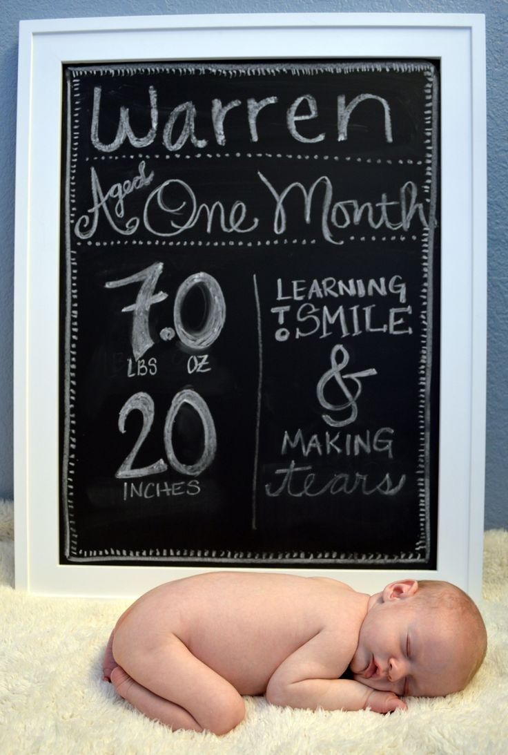 I did it!  Baby growth monthly updates and picture.  This was the first one (1 month).