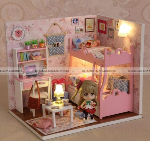 New-Kits-DIY-Wood-Dollhouse-miniature-with-LED-Furniture-cover-Doll-house-room
