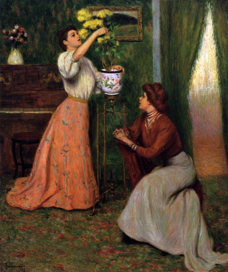 In the Salon (also known as In the Living Room)  Federico Zandomeneghi, 1913 (Thx Checa)