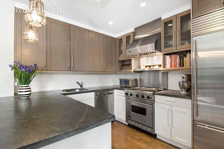 "Contemporary Kitchen with Craftsman Panel Cabinet Door, 36"" Built-In Over-and-Under Refrigerator/Freezer, Gray Soapstone"