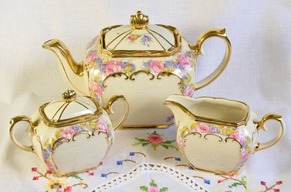 Sadler tea set/ Sadler cube teapot/ Sadler cube tea set/ vintage sadler