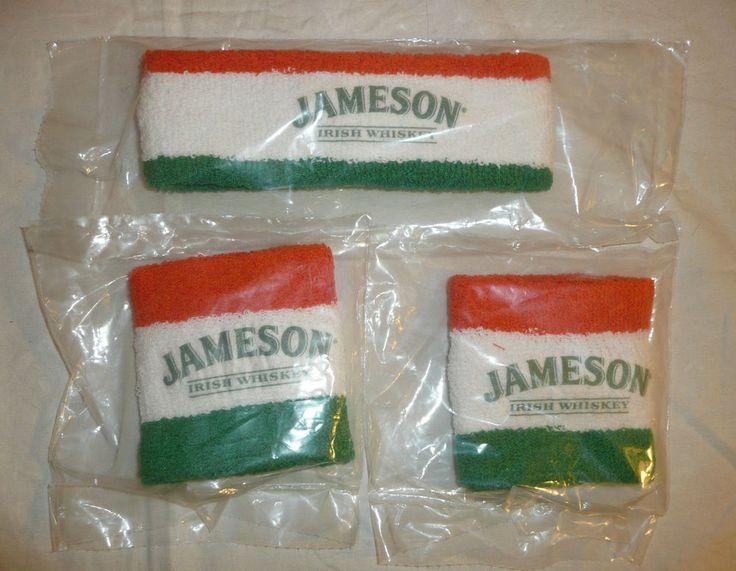 Lot of 3 - Jameson Irish Whiskey Headband and 2 Wrist Bands - Sweat Sports Bar #Jameson