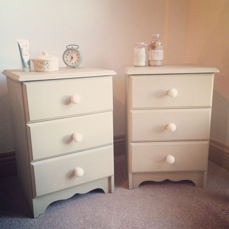 x Sold x Pair of bedside cabinets painted with Annie Sloan Chalk Paint 'Country Grey' Price:  £84.  Item on display at Jilly, Tilly & Boo, Wellington, Somerset x